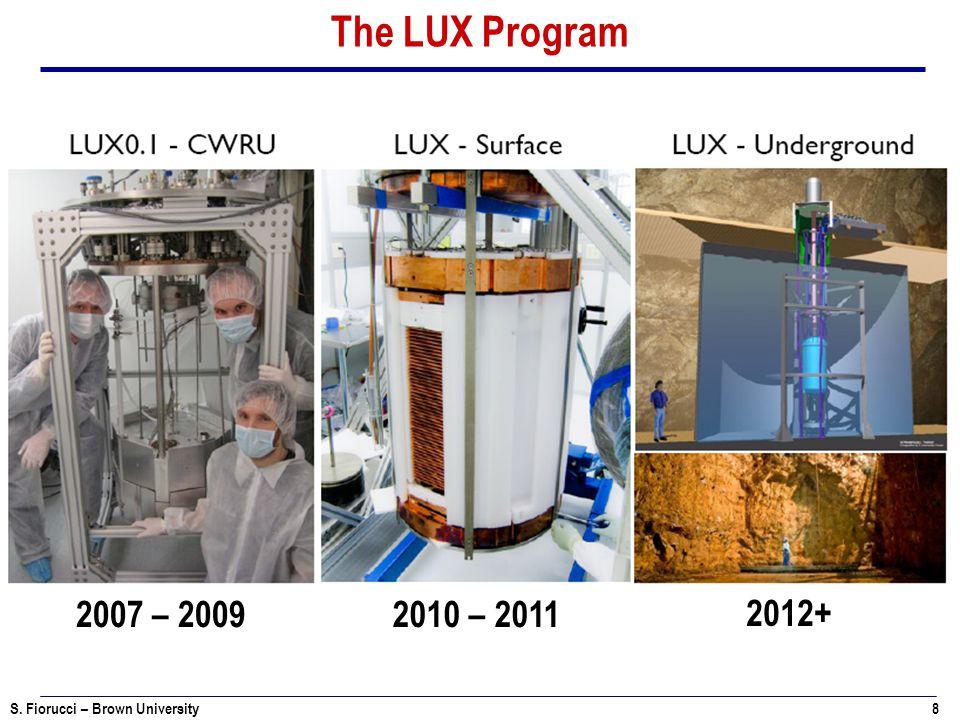 S. Fiorucci – Brown University 8 The LUX Program 2007 – 20092010 – 2011 2012+