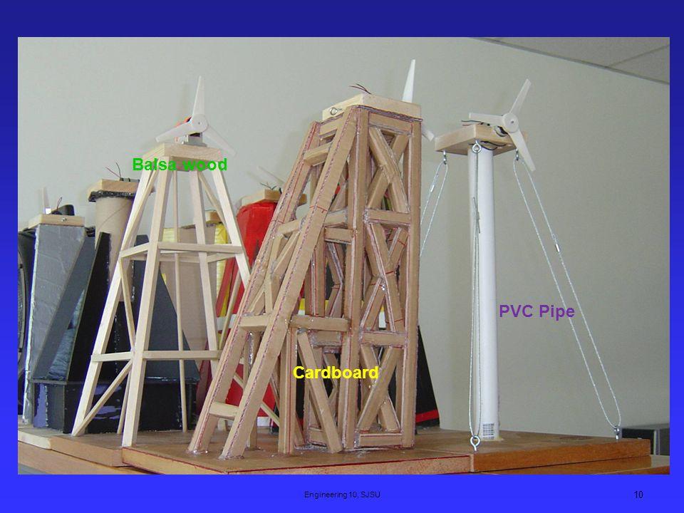 Engineering 10, SJSU 10 Cardboard Balsa wood PVC Pipe