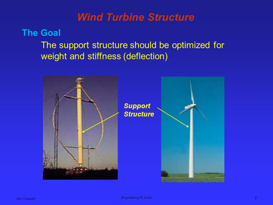 Ken Youssefi Engineering 10, SJSU 2 Wind Turbine Structure The support structure should be optimized for weight and stiffness (deflection) Support Structure The Goal