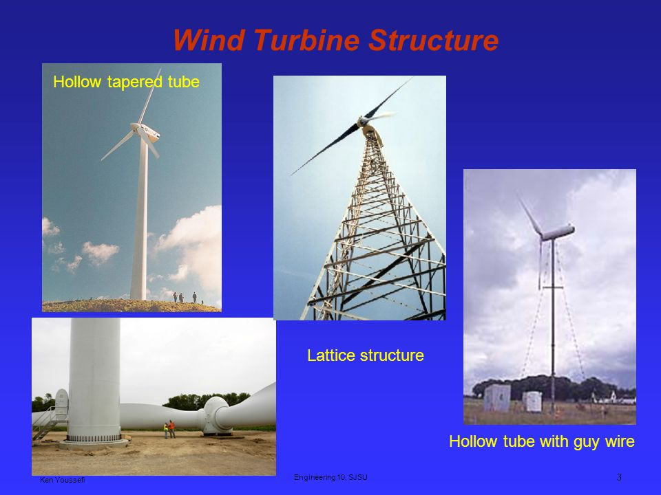 Ken Youssefi Engineering 10, SJSU 3 Lattice structure Wind Turbine Structure Hollow tube with guy wire Hollow tapered tube