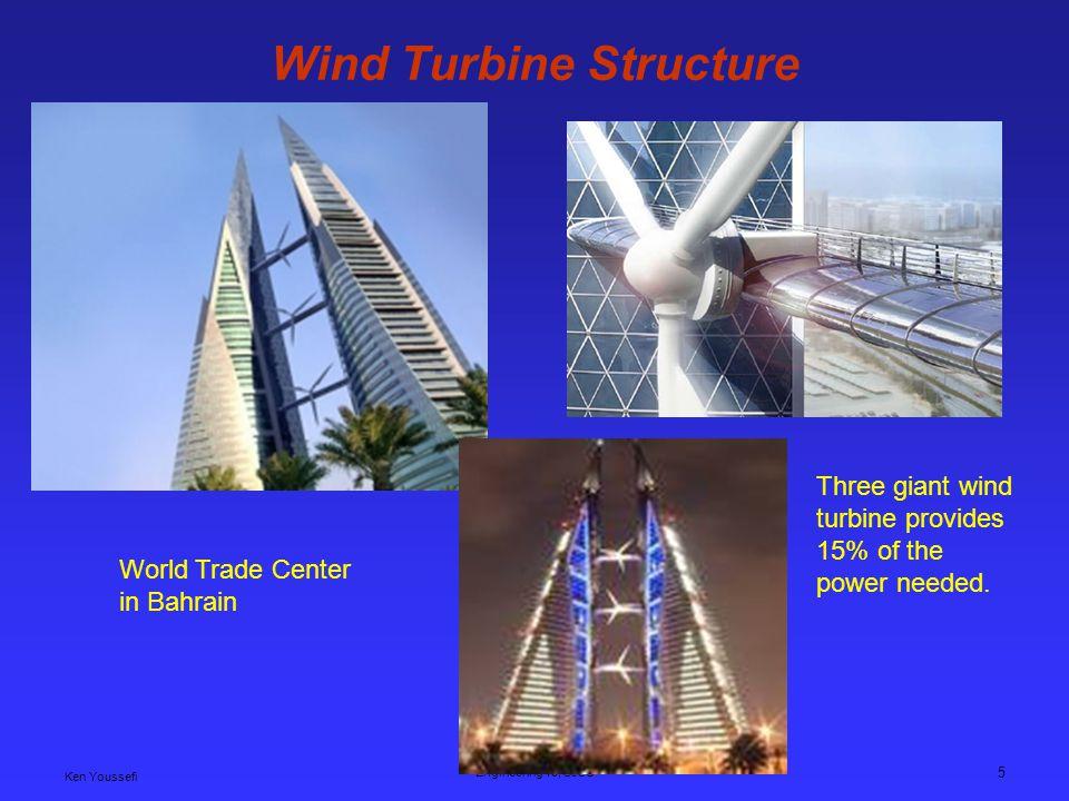 Ken Youssefi Engineering 10, SJSU 5 Wind Turbine Structure World Trade Center in Bahrain Three giant wind turbine provides 15% of the power needed.