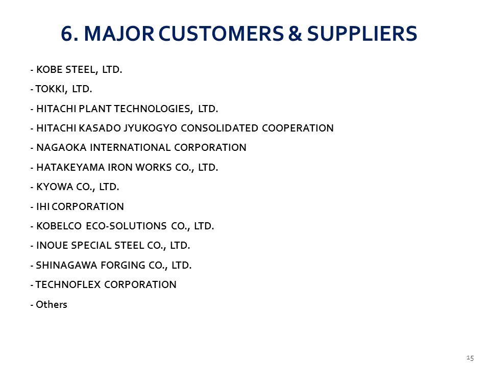 6.MAJOR CUSTOMERS & SUPPLIERS - KOBE STEEL, LTD. - TOKKI, LTD.