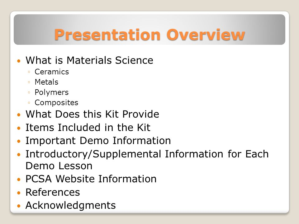 The remainder of the presentation will focus on introductory/supplementary information for each demo