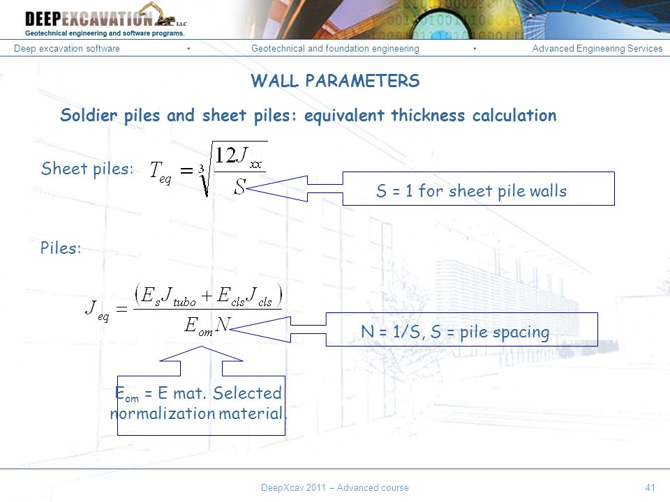 Deep excavation softwareGeotechnical and foundation engineering Advanced Engineering Services Corso Paratie, Milano 30 settembre 2009 Soldier piles and sheet piles: equivalent thickness calculation Sheet piles: Piles: E om = E mat.