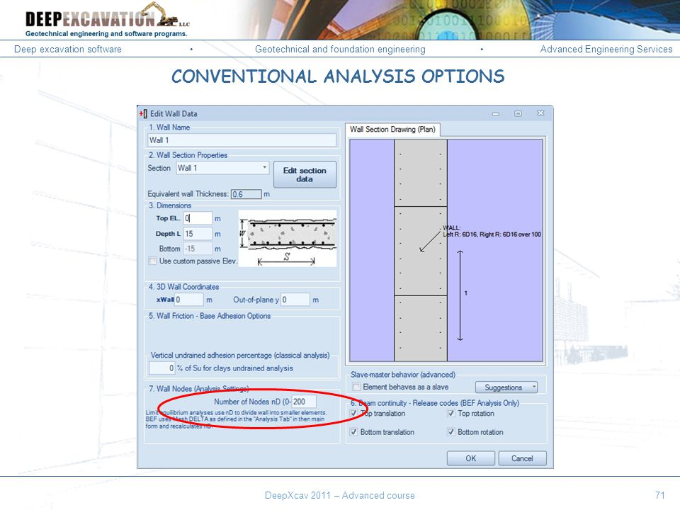 Deep excavation softwareGeotechnical and foundation engineering Advanced Engineering Services Corso Paratie, Milano 30 settembre 2009 DeepXcav 2011 – Advanced course71 CONVENTIONAL ANALYSIS OPTIONS