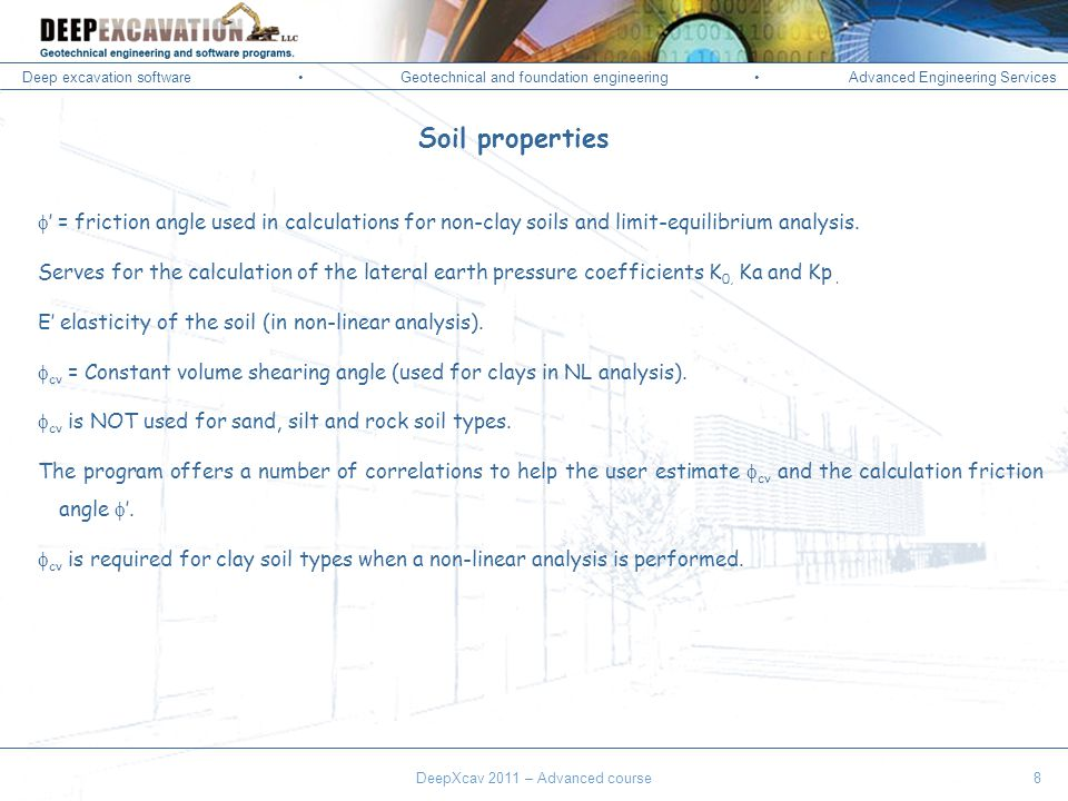 Deep excavation softwareGeotechnical and foundation engineering Advanced Engineering Services Corso Paratie, Milano 30 settembre 2009 = friction angle used in calculations for non-clay soils and limit-equilibrium analysis.