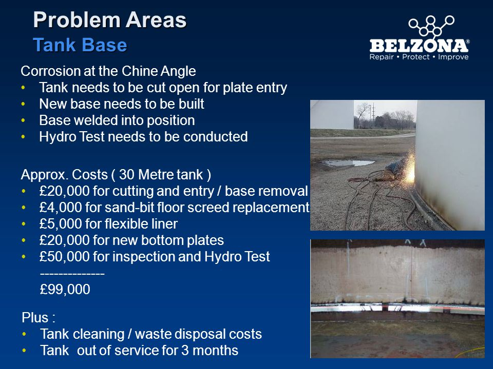 Corrosion at the Chine Angle Tank needs to be cut open for plate entry New base needs to be built Base welded into position Hydro Test needs to be con