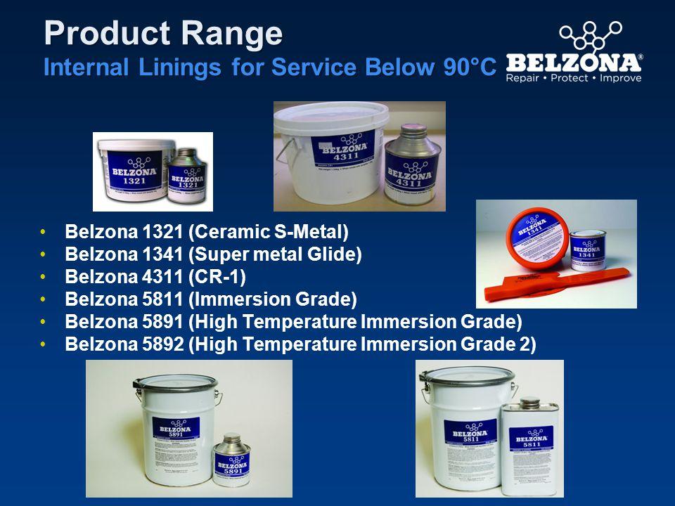 Product Range Internal Linings for Service Below 90°C Belzona 1321 (Ceramic S-Metal) Belzona 1341 (Super metal Glide) Belzona 4311 (CR-1) Belzona 5811