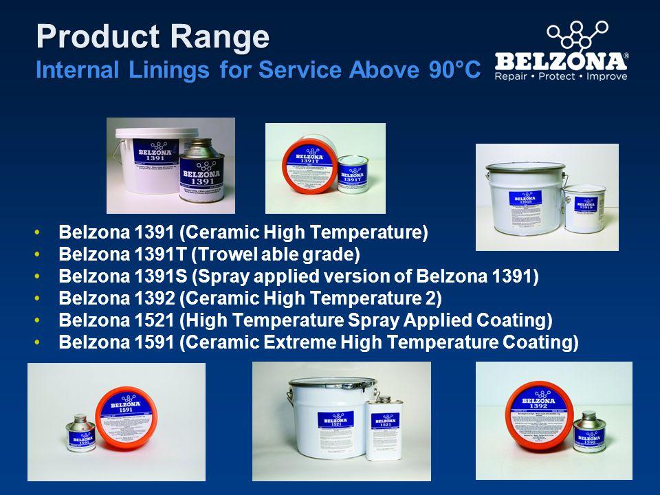 Product Range Internal Linings for Service Above 90°C Belzona 1391 (Ceramic High Temperature) Belzona 1391T (Trowel able grade) Belzona 1391S (Spray a