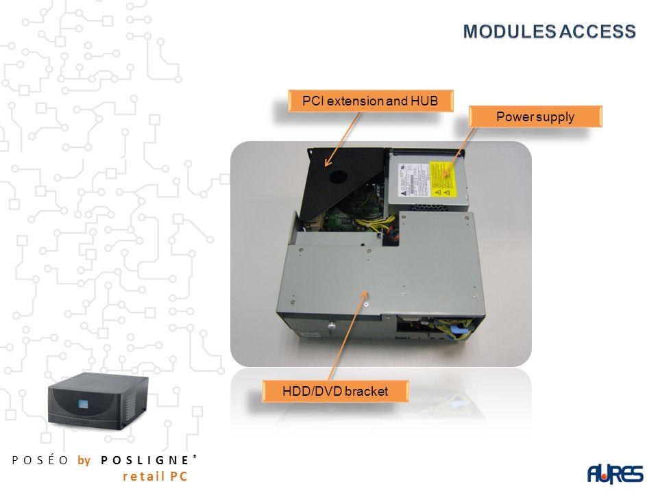 POSÉO by POSLIGNE ® retail PC Power supply PCI extension and HUB HDD/DVD bracket