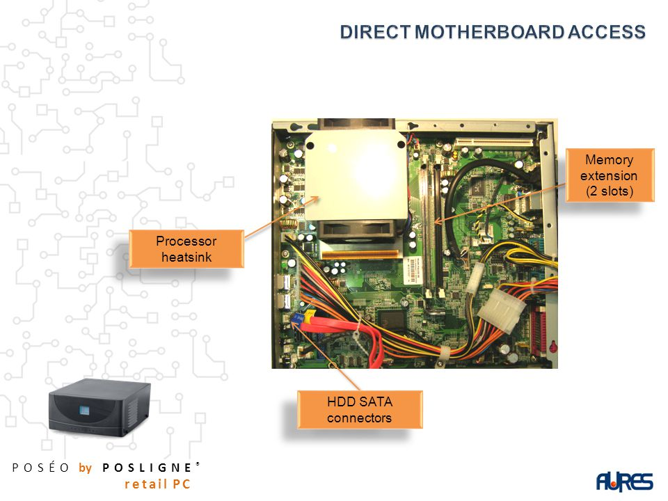 POSÉO by POSLIGNE ® retail PC Memory extension (2 slots) Memory extension (2 slots) HDD SATA connectors Processor heatsink