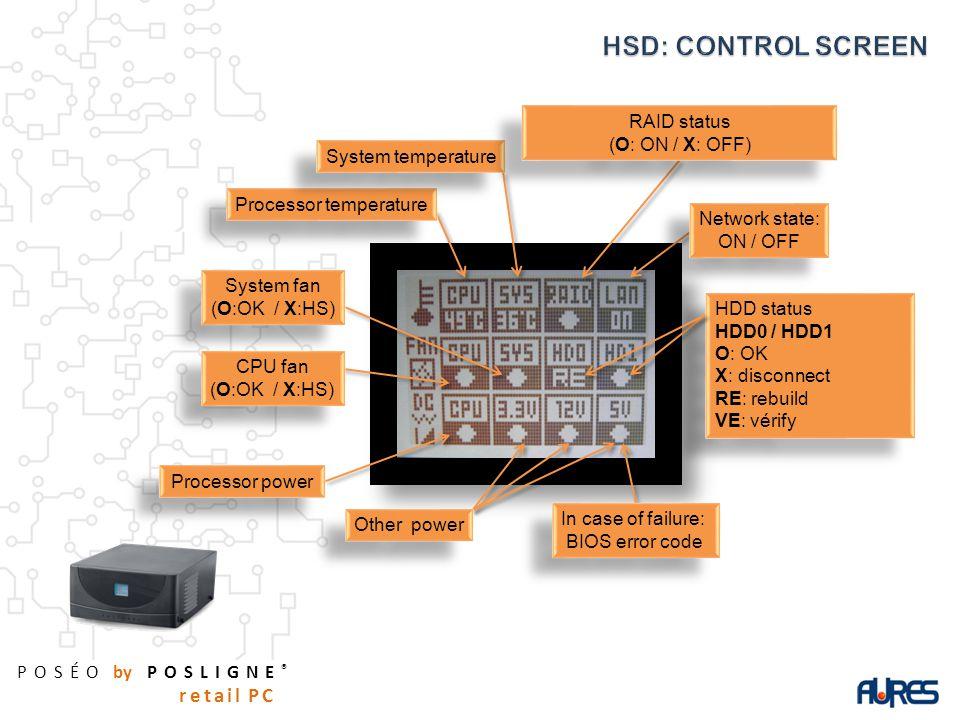 POSÉO by POSLIGNE ® retail PC HDD status HDD0 / HDD1 O: OK X: disconnect RE: rebuild VE: vérify HDD status HDD0 / HDD1 O: OK X: disconnect RE: rebuild