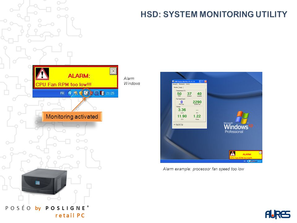 POSÉO by POSLIGNE ® retail PC Alarm Windows Alarm example: processor fan speed too low Monitoring activated