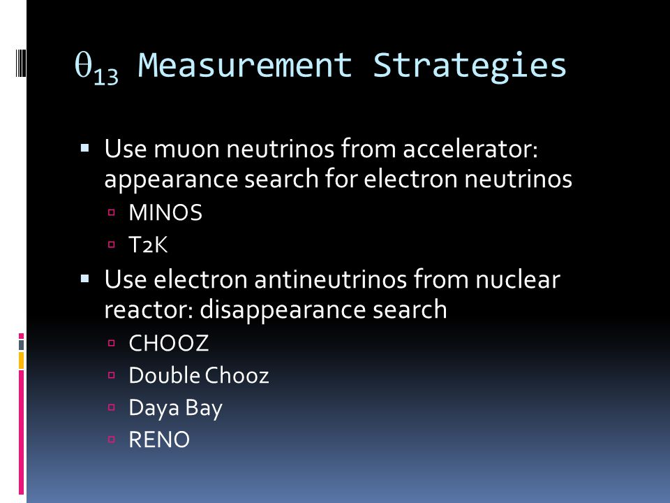 13 Measurement Strategies Use muon neutrinos from accelerator: appearance search for electron neutrinos MINOS T2K Use electron antineutrinos from nuclear reactor: disappearance search CHOOZ Double Chooz Daya Bay RENO