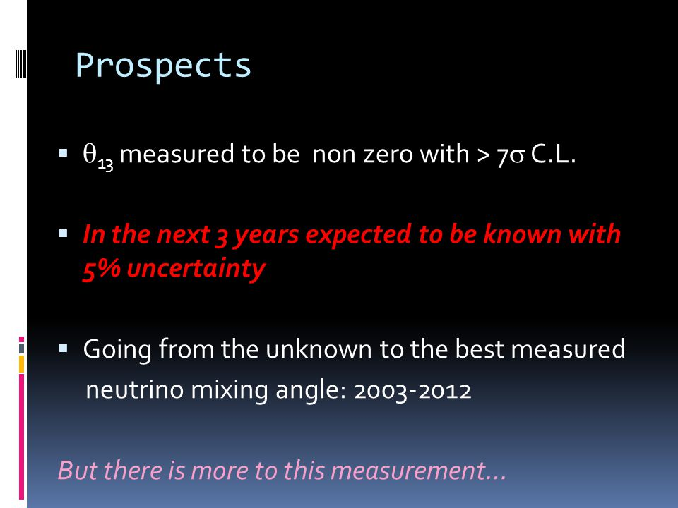 Prospects 13 measured to be non zero with > 7 C.L.