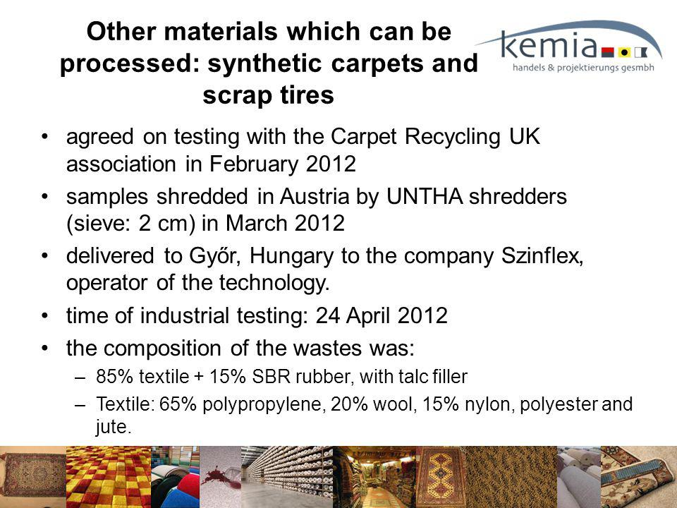agreed on testing with the Carpet Recycling UK association in February 2012 samples shredded in Austria by UNTHA shredders (sieve: 2 cm) in March 2012 delivered to Győr, Hungary to the company Szinflex, operator of the technology.