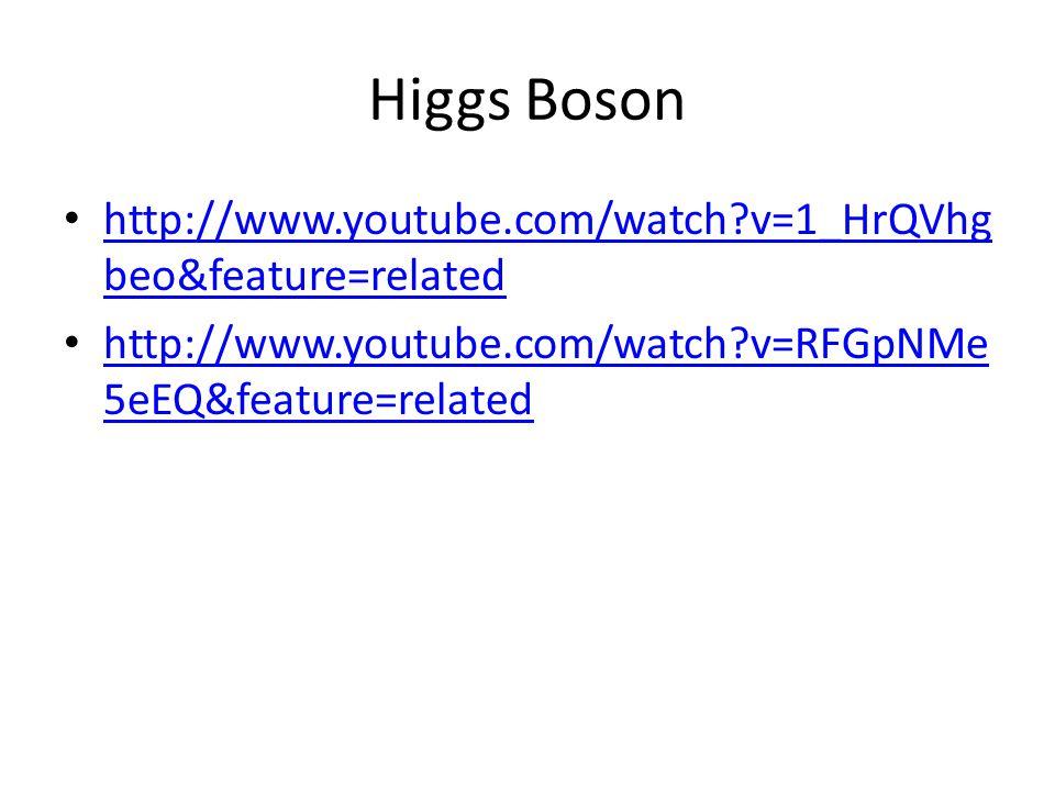 Higgs Boson http://www.youtube.com/watch v=1_HrQVhg beo&feature=related http://www.youtube.com/watch v=1_HrQVhg beo&feature=related http://www.youtube.com/watch v=RFGpNMe 5eEQ&feature=related http://www.youtube.com/watch v=RFGpNMe 5eEQ&feature=related
