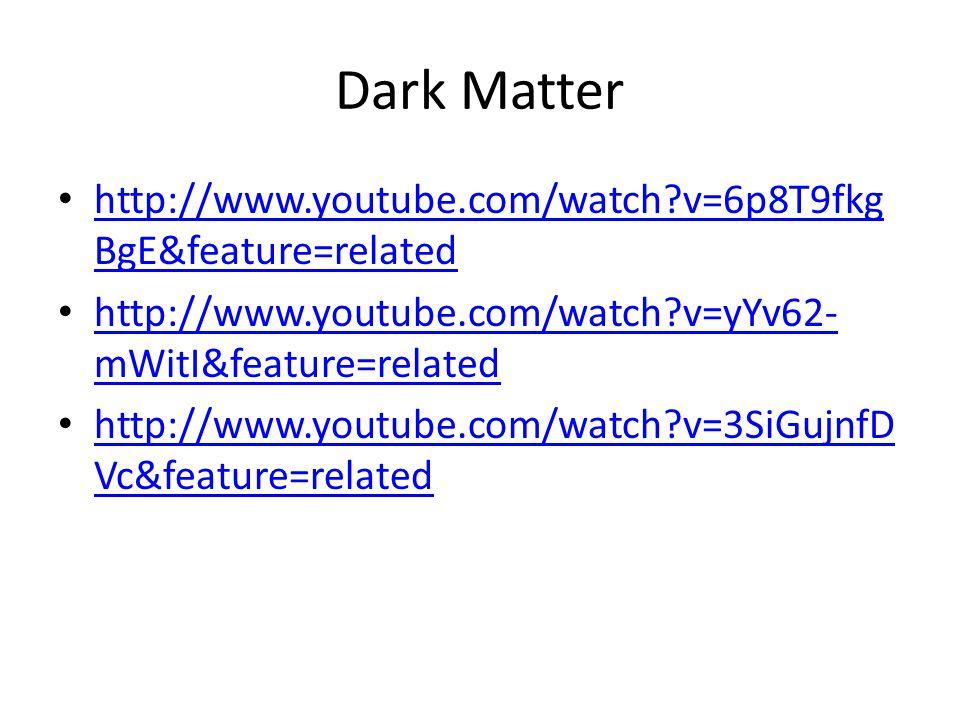 Dark Matter http://www.youtube.com/watch v=6p8T9fkg BgE&feature=related http://www.youtube.com/watch v=6p8T9fkg BgE&feature=related http://www.youtube.com/watch v=yYv62- mWitI&feature=related http://www.youtube.com/watch v=yYv62- mWitI&feature=related http://www.youtube.com/watch v=3SiGujnfD Vc&feature=related http://www.youtube.com/watch v=3SiGujnfD Vc&feature=related