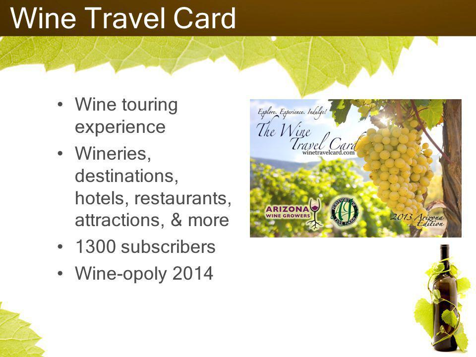 Wine Travel Card Wine touring experience Wineries, destinations, hotels, restaurants, attractions, & more 1300 subscribers Wine-opoly 2014