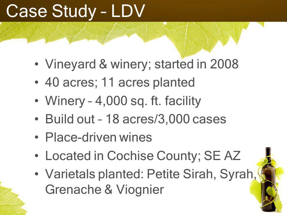 Case Study – LDV Vineyard & winery; started in 2008 40 acres; 11 acres planted Winery – 4,000 sq.