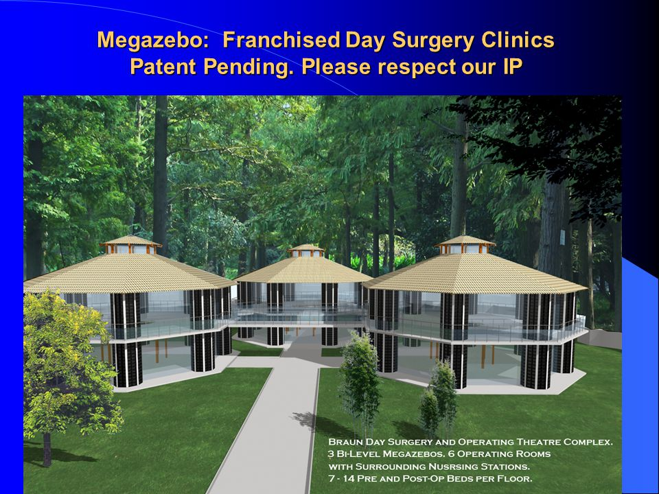Megazebo: Franchised Day Surgery Clinics Patent Pending. Please respect our IP
