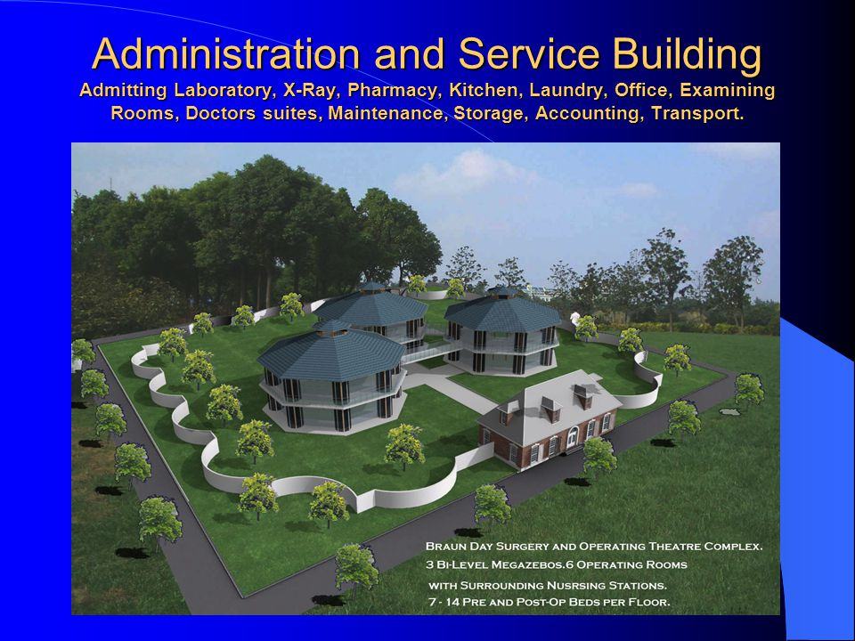 Administration and Service Building Admitting Laboratory, X-Ray, Pharmacy, Kitchen, Laundry, Office, Examining Rooms, Doctors suites, Maintenance, Storage, Accounting, Transport.