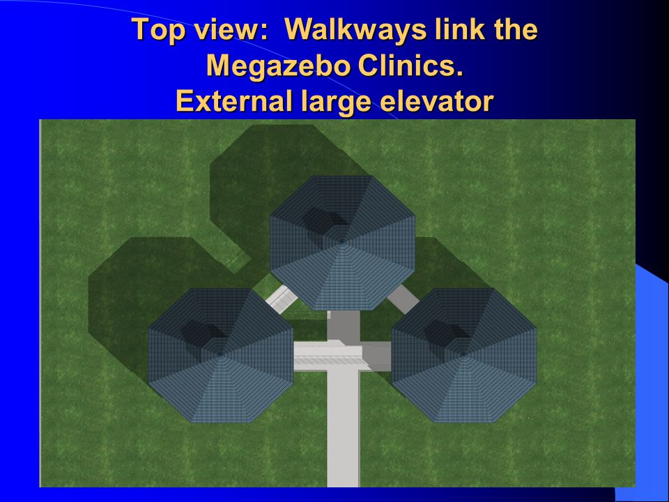 Top view: Walkways link the Megazebo Clinics. External large elevator
