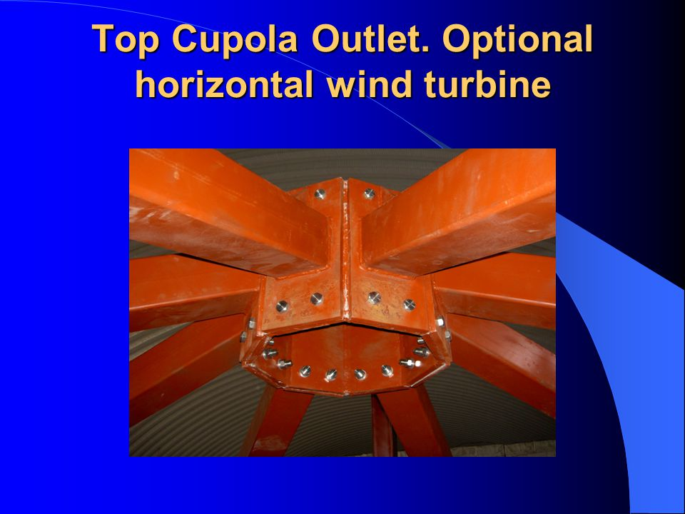Top Cupola Outlet. Optional horizontal wind turbine