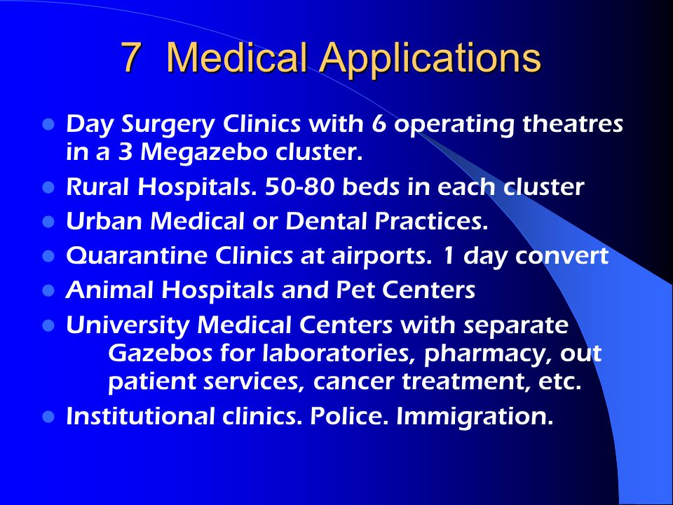 7 Medical Applications Day Surgery Clinics with 6 operating theatres in a 3 Megazebo cluster.