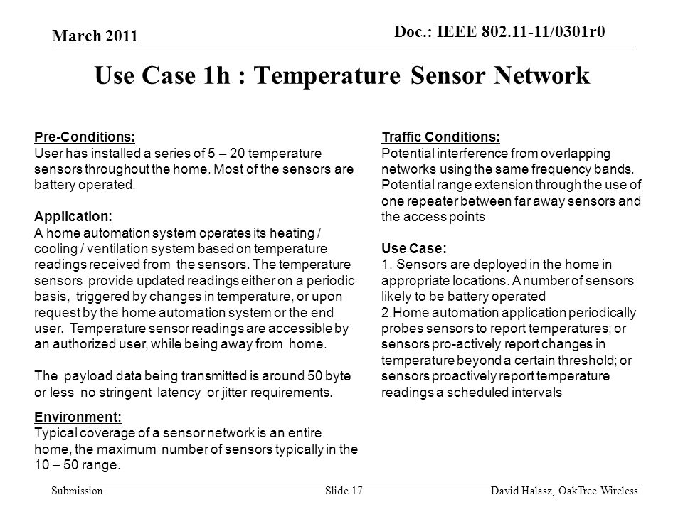 doc.: IEEE /0301r2 SubmissionSlide Use Case 1h : Temperature Sensor Network Traffic Conditions: Potential interference from overlapping networks using the same frequency bands.