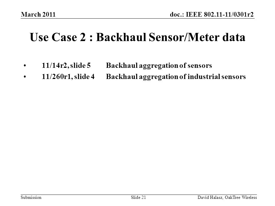 doc.: IEEE /0301r2 Submission Use Case 2 : Backhaul Sensor/Meter data 11/14r2, slide 5Backhaul aggregation of sensors 11/260r1, slide 4Backhaul aggregation of industrial sensors March 2011 David Halasz, OakTree WirelessSlide 21