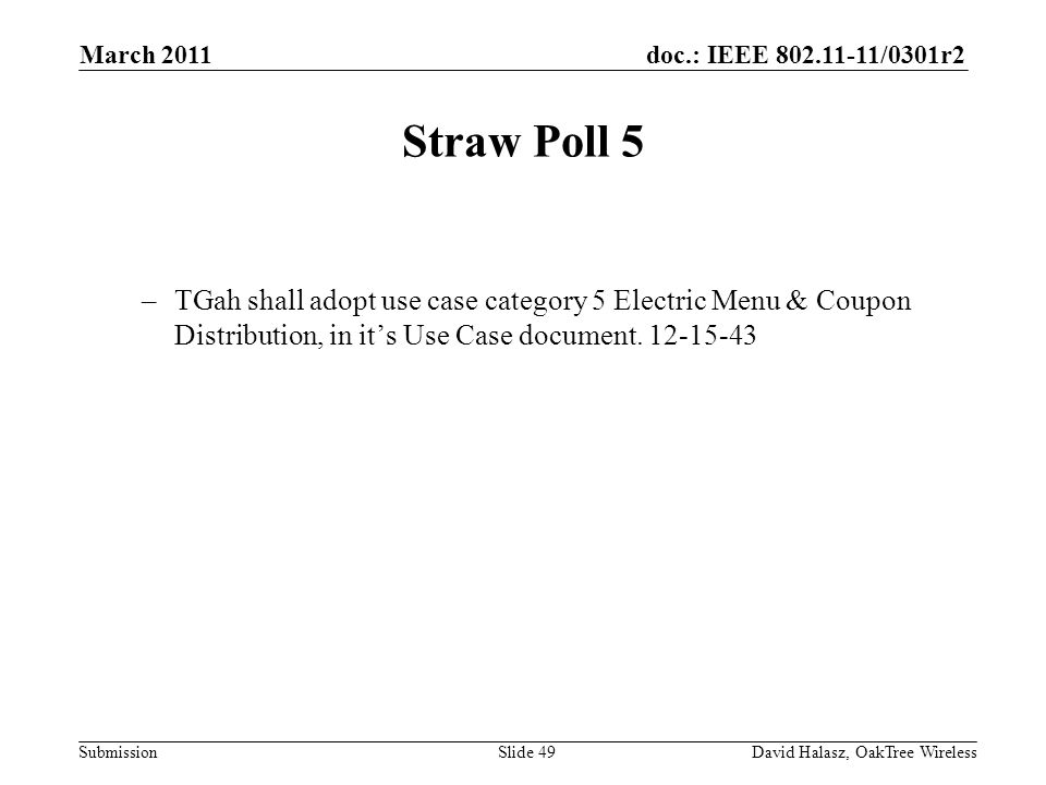 doc.: IEEE /0301r2 Submission Straw Poll 5 –TGah shall adopt use case category 5 Electric Menu & Coupon Distribution, in its Use Case document.