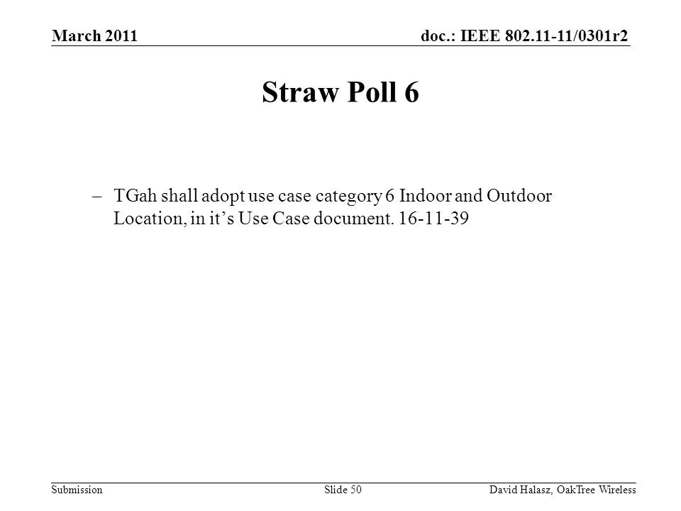 doc.: IEEE /0301r2 Submission Straw Poll 6 –TGah shall adopt use case category 6 Indoor and Outdoor Location, in its Use Case document.