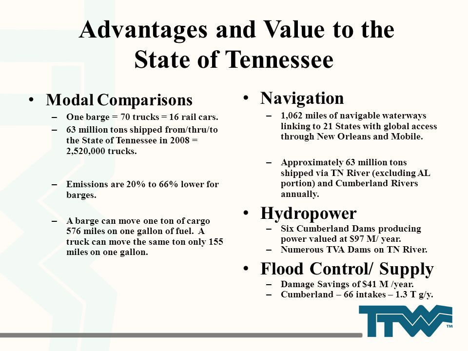 Advantages and Value to the State of Tennessee Modal Comparisons – One barge = 70 trucks = 16 rail cars. – 63 million tons shipped from/thru/to the St