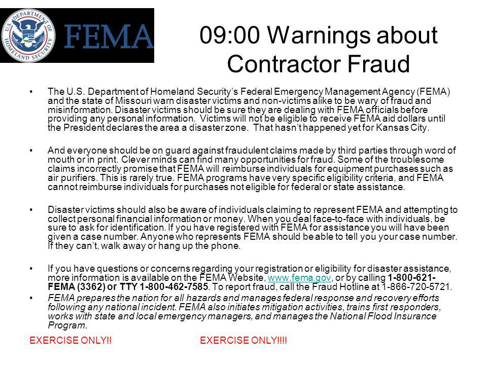 09:00 Warnings about Contractor Fraud The U.S.