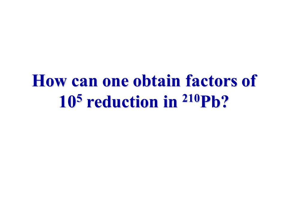 How can one obtain factors of 10 5 reduction in 210 Pb?