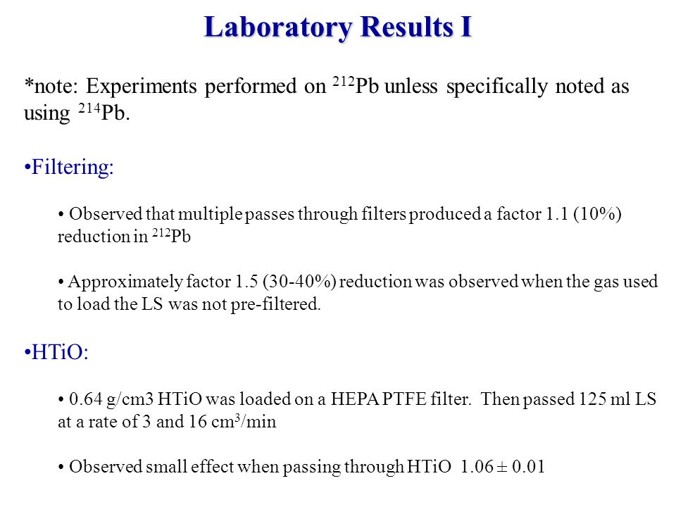 *note: Experiments performed on 212 Pb unless specifically noted as using 214 Pb.