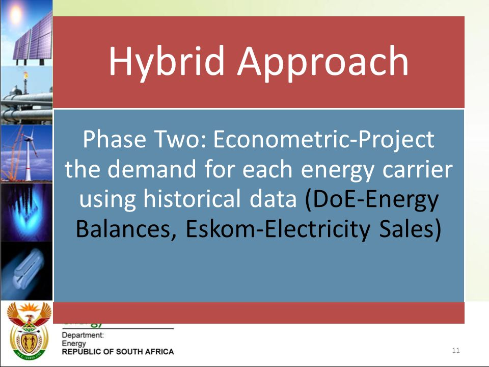 Hybrid Approach Phase Two: Econometric-Project the demand for each energy carrier using historical data (DoE-Energy Balances, Eskom-Electricity Sales)