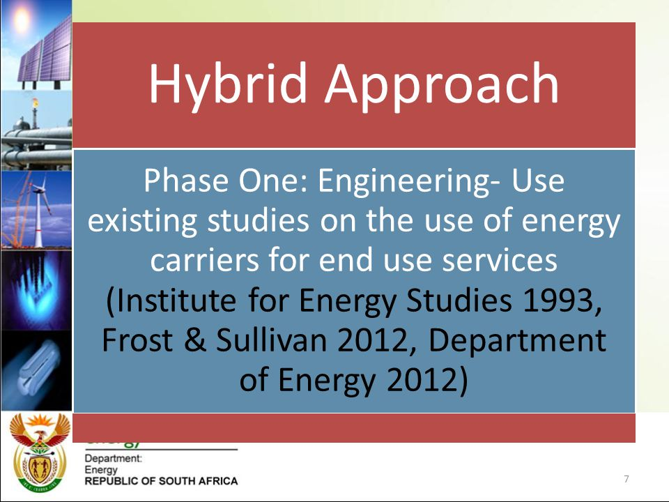 Hybrid Approach Phase One: Engineering- Use existing studies on the use of energy carriers for end use services (Institute for Energy Studies 1993, Frost & Sullivan 2012, Department of Energy 2012) 7