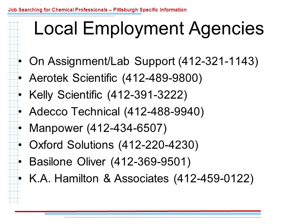 Job Searching for Chemical Professionals – Pittsburgh Specific Information Local Employment Agencies On Assignment/Lab Support (412-321-1143) Aerotek Scientific (412-489-9800) Kelly Scientific (412-391-3222) Adecco Technical (412-488-9940) Manpower (412-434-6507) Oxford Solutions (412-220-4230) Basilone Oliver (412-369-9501) K.A.
