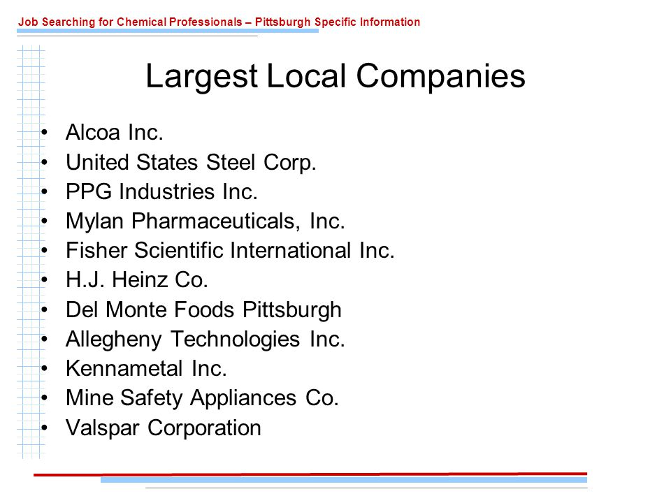 Job Searching for Chemical Professionals – Pittsburgh Specific Information Largest Local Companies Alcoa Inc.