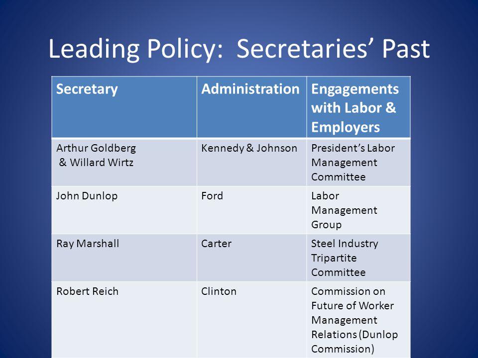 Leading Policy: Secretaries Past SecretaryAdministrationEngagements with Labor & Employers Arthur Goldberg & Willard Wirtz Kennedy & JohnsonPresidents