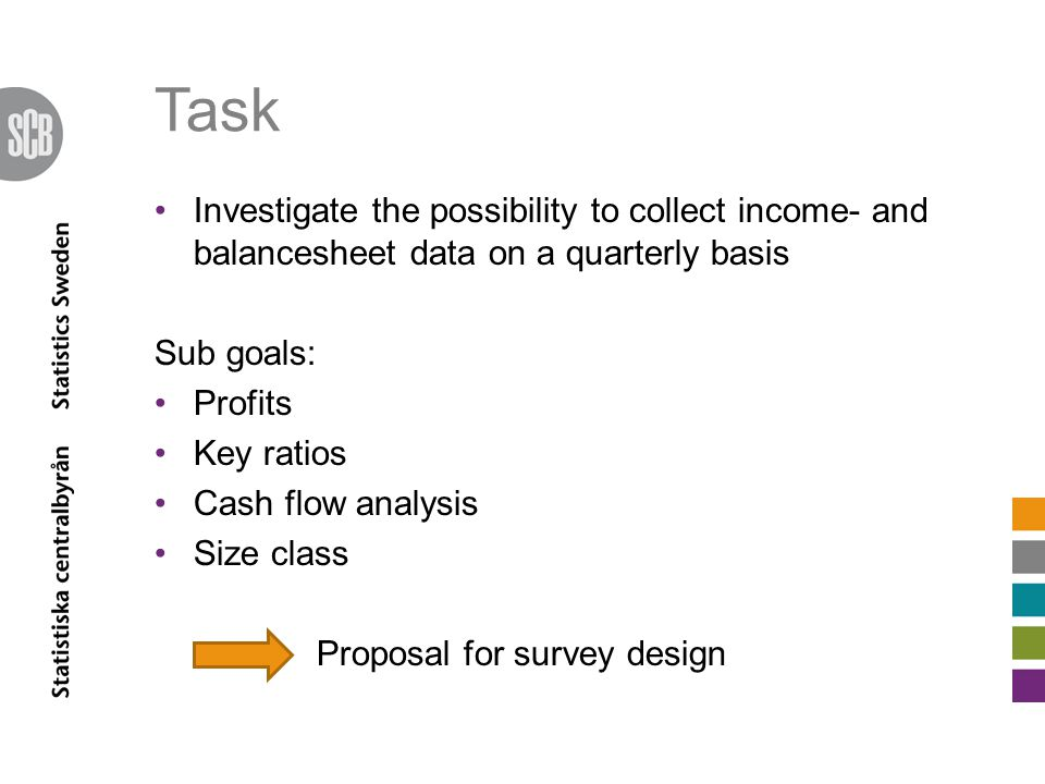 Task Investigate the possibility to collect income- and balancesheet data on a quarterly basis Sub goals: Profits Key ratios Cash flow analysis Size class Proposal for survey design