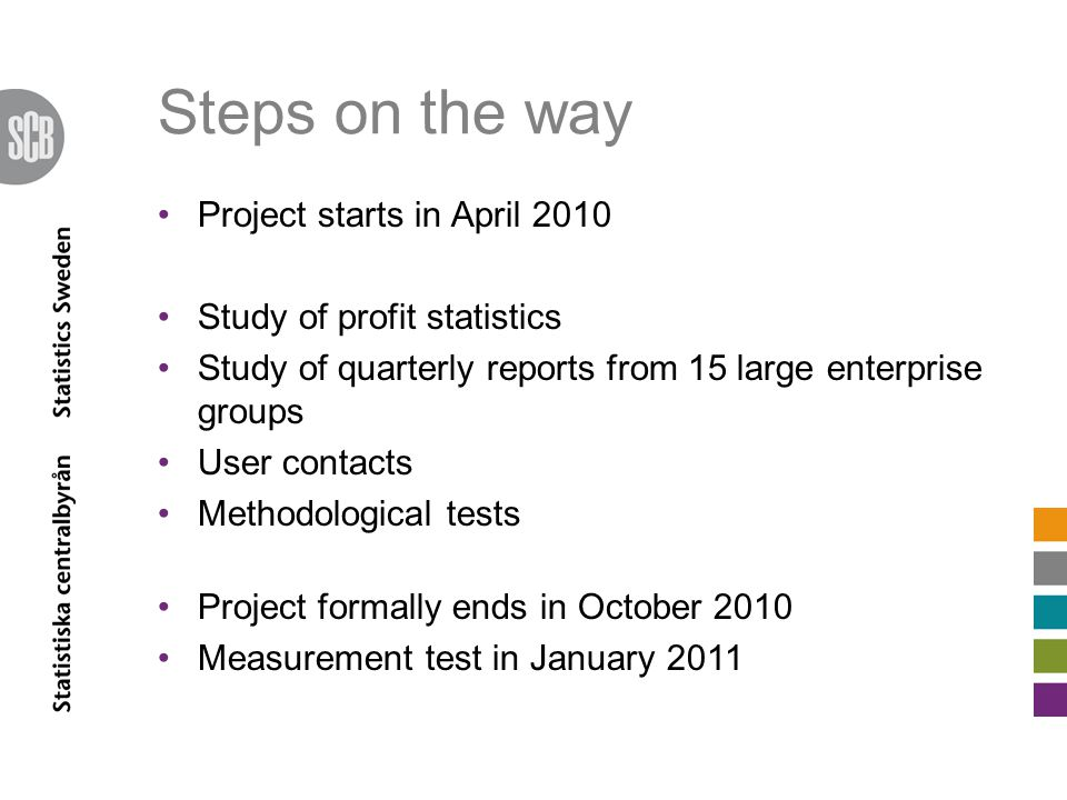Steps on the way Project starts in April 2010 Study of profit statistics Study of quarterly reports from 15 large enterprise groups User contacts Methodological tests Project formally ends in October 2010 Measurement test in January 2011