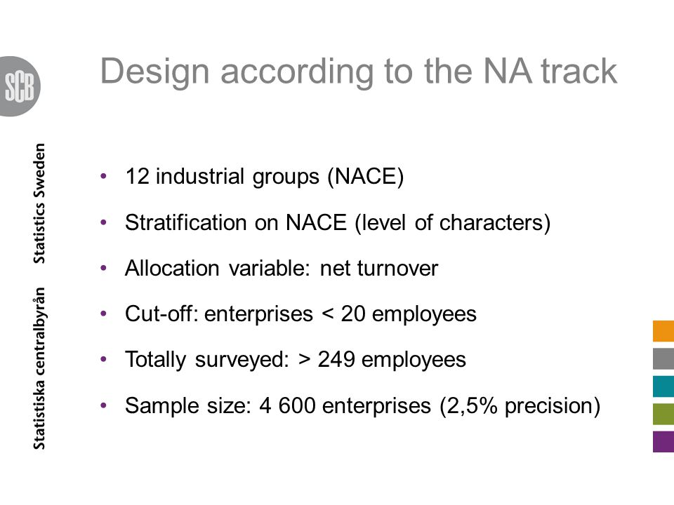 Design according to the NA track 12 industrial groups (NACE) Stratification on NACE (level of characters) Allocation variable: net turnover Cut-off: enterprises < 20 employees Totally surveyed: > 249 employees Sample size: 4 600 enterprises (2,5% precision)