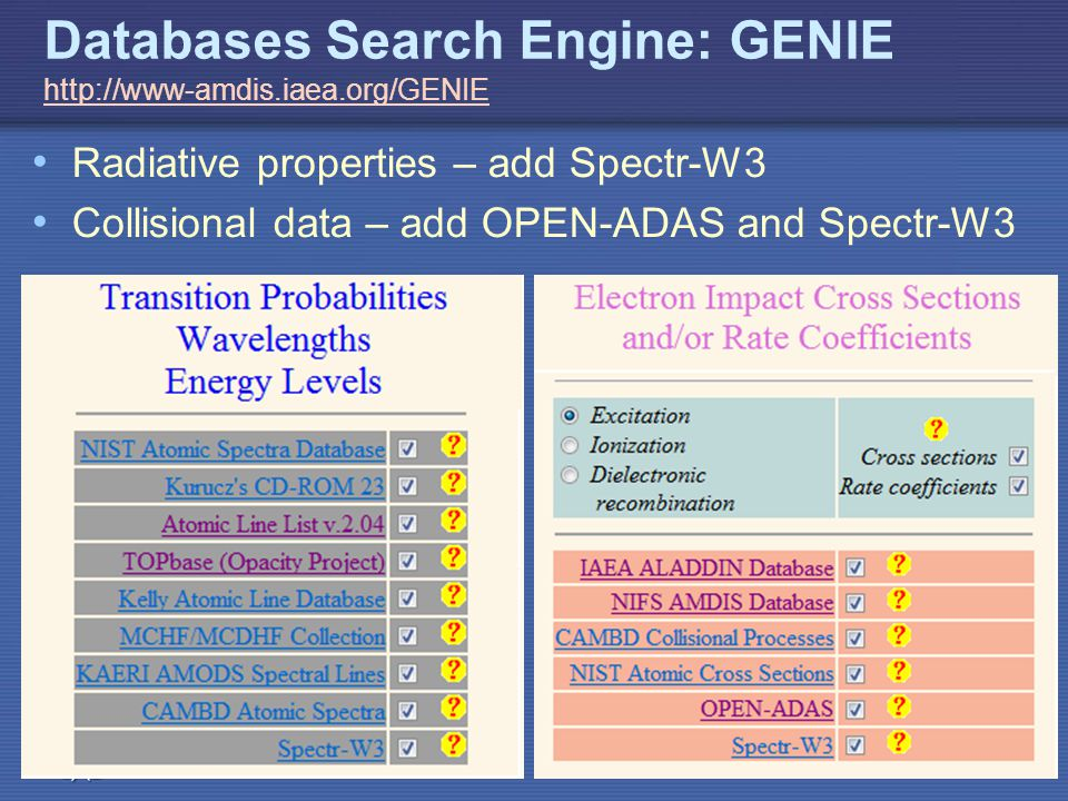 IAEA Databases Search Engine: GENIE     Radiative properties – add Spectr-W3 Collisional data – add OPEN-ADAS and Spectr-W3