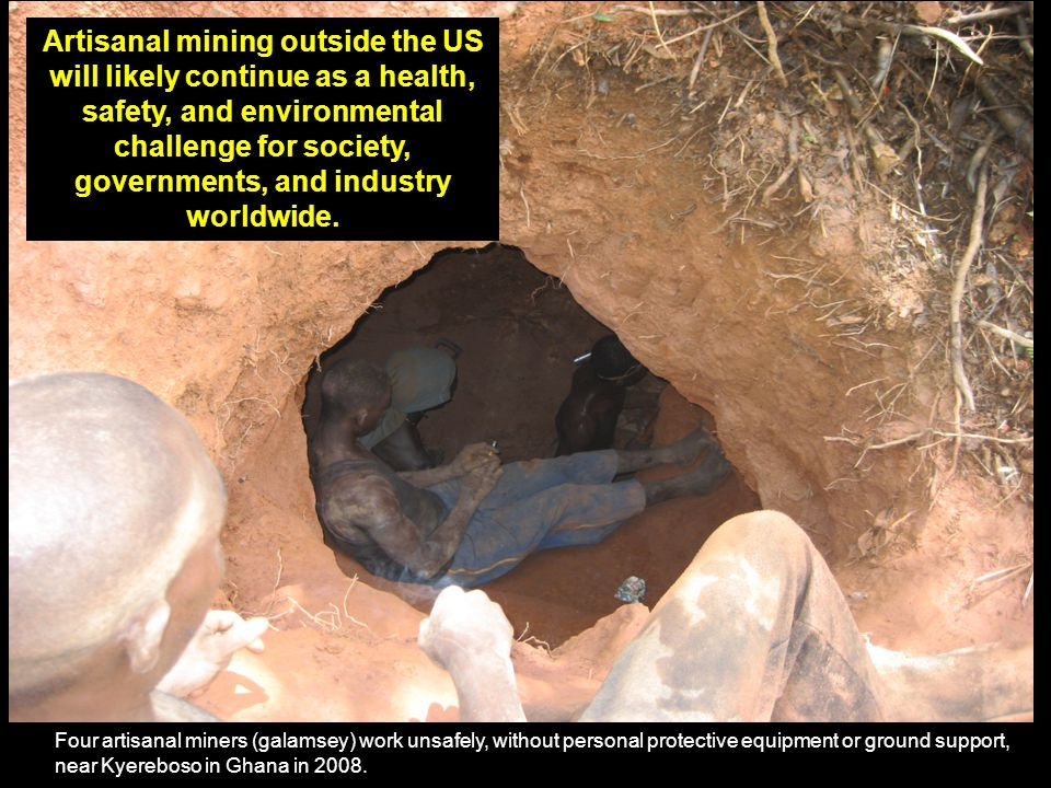 Four artisanal miners (galamsey) work unsafely, without personal protective equipment or ground support, near Kyereboso in Ghana in 2008.