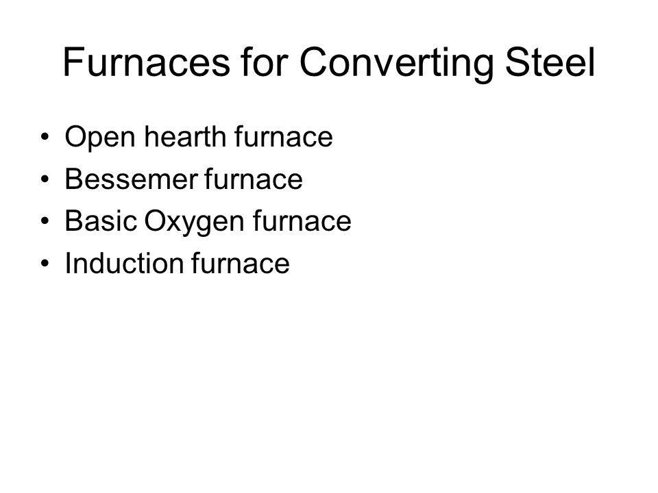 Furnaces for Converting Steel Open hearth furnace Bessemer furnace Basic Oxygen furnace Induction furnace
