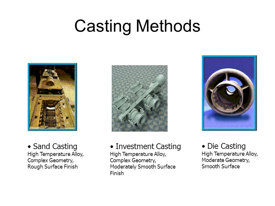 Casting Methods Sand Casting High Temperature Alloy, Complex Geometry, Rough Surface Finish Investment Casting High Temperature Alloy, Complex Geometr