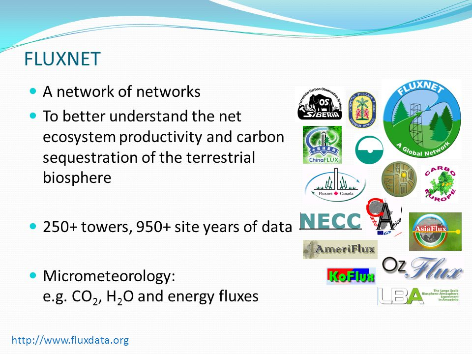 FLUXNET A network of networks To better understand the net ecosystem productivity and carbon sequestration of the terrestrial biosphere 250+ towers, 950+ site years of data Micrometeorology: e.g.